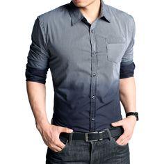 Kuegou Long Sleeve Color-Gradient Shirt Code: 20114408 - Men's Shirts - Men's Clothing at Clothing.net