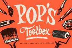 Pop's Toolbox for Procreate by Sean Tulgetske on @creativemarket Typography, Lettering, Stippling, Photography Projects, Tool Box, Graphic Illustration, Ephemera, Over The Years, Neon Signs
