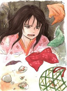 Kaguya-hime from Kaguya-hime no Monogatari, adaptation by Studio Ghibli. Illustration by unknown.