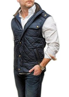 Polo Ralph Lauren Mens Quilted Hunting Cargo Vest Jacket Navy Blue Brown at Amazon Men's Clothing store: