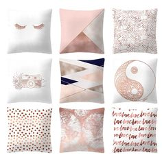 Luxury Bedding On A Budget Rose Gold Bed, Rose Gold Rooms, Rose Gold Pink, Pink Cushion Covers, Pink Cushions, Gold Pillows, Blush Pink Comforter, Purple Bedding, Gold Bedding