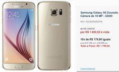 Samsung Galaxy S6 Dourado com Tela de 5.1 4G 32 GB e Câmera de 16 MP << R$ 160002 >>