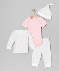 Take a look at this Blush 4-Piece Layette Set - Infant by Burt's Bees Baby on #zulily today!