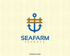 Abstract logo with the shape of a fence in conjunction with an anchor with blue and brown colors.( farming, sea, maritime, carrier, anchor, farm, flag, travel, abstract, fence, agricultural products,  logo for sale, logo design, logo, lototipo, logotype).