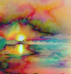 Watercolor Sunset or Sunrise Alcohol Ink Painting, Alcohol Ink Art, Hippie Art, Watercolor Paintings, Acrylic Paintings, Watercolors, Watercolor Sunset, Landscape Paintings, Abstract Landscape