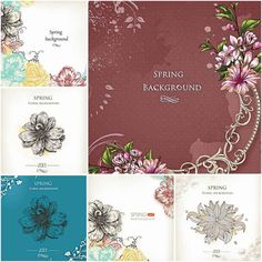 Vintage ornate spring backgrounds set vector | CGIspread | Free download