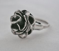 Artisan STERLING Silver SIGNED Hand Crafted RING Exquisite ROSE Vintage SIZE 5
