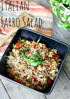 Italian Farro Salad - delicious healthy side dish packed with vegetables.