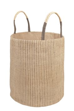 The Dharma Door Loomed Basket in Grey Stripes