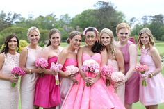 A FUN FLAMINGO EXTRAVAGANZA WEDDING WITH INFLUENCE FROM KATY PERRY AND GRAY… Mismatched Bridesmaid Dresses, Wedding Dresses, Bridesmaids, Wedding Blog, Wedding Ideas, Bubblegum Pink, Alternative Wedding, Pink Flamingos, Katy Perry