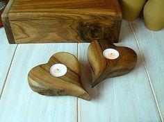 woodartAM / Svietnik - srdce z orechového dreva
