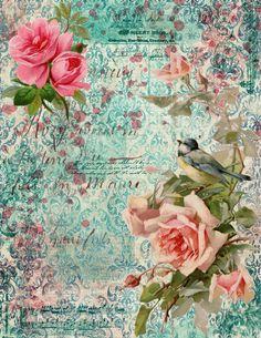 Shabby Chic Garden, Vintage Shabby Chic, Junk Journal, Garden Birds, Printable Vintage, Printables, Scrapbook Kit, Journals, Painting