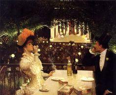 jillthejellyfish: Dinner At Les Ambassadeurs (detail) by Jean Beraud c. 1882