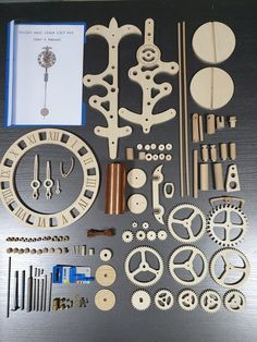 Wall clock kit with pendulum and weight. This clock is made from birch plywood and beech wood. The shafts are made from stainless steel and the weight is made from copper pipe, plywood and beech wood. It runs about 24 hours per winding, fitted at 1.6m heights from the bottom of the weight to the Wooden Clock Kits, Wall Clock Kits, Wood Clocks, Windmill Clock, Trotec Laser, Wooden Phone Holder, Gomme Laque, Wooden Gears, Steampunk Clock