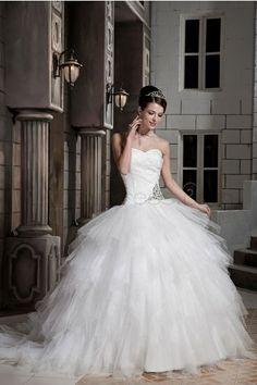 Satin, Tulle Chapel Train Sweetheart Ivory Cute, Luxurious, Romantic Wedding Dresses