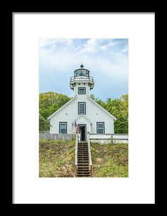 Old Mission Lighthouse in Michigan. #lighthouses #printsforsale #lighthouse #michigan @lighthouse Point Light, Morning Light, Us Images, Black Wood, Hanging Wire, Prints For Sale, Lighthouses, Order Prints, Clear Acrylic