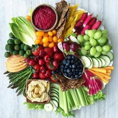 Ultimate crudite and fruit platter.serve with pita, toasted bread and crackers for a large crowd Party Platters, Veggie Platters, Veggie Tray, Meat Platter, Meat Cheese Platters, Cheese And Cracker Tray, Hummus Platter, Vegetarian Platter, Meat Trays