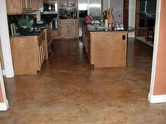 Warm, Textured Concrete Floors AFS Creative Finishes Sacramento, CA Acid Wash Concrete, Finished Concrete Floors, Hardwood Floors, Acid Stain, Brick Floor Kitchen, Floor Stain, Basement Flooring, Florida Home, Patio