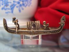 Antique Venetian souvenir  in the shape of a silver Gondola brooch, 19th century found on Ruby Lane