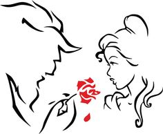 Beauty and the beast simple pattern for crafts. sewing, cross stitching, wood burning, carving, etching, coloring