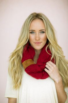 Knitted Infinity Bohemian Scarf with Leather Women's Boho Snood Loops CRANBERRY RED Braided Knit Women's Fashion Accessories SCF-33L