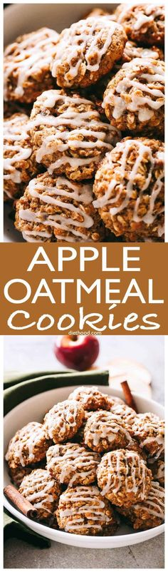 Apple Oatmeal Cookies - These perfectly soft and chewy oatmeal cookies are loaded with apples, oats, and cinnamon, and are topped with a simple sweet glaze. #cookies #oatmeal #christmas via @diethood
