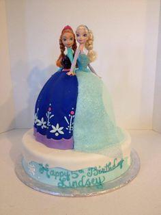 Anna Amp Elsa Doll Cake Frozen Theme