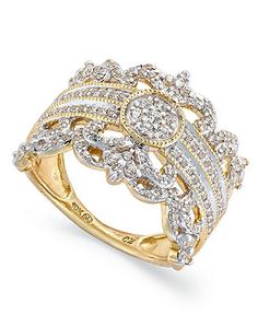 Diamond Ring, 14k Gold Diamond Vintage Crown Ring (3/4 ct. t.w.) - Rings - Jewelry & Watches - Macy's