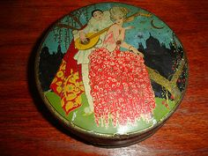 Antique French Art Deco Pierrot and Colombine Biscuit Candy Tin | eBay