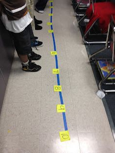 Walking the number line. Cool idea for introducing adding and subtracting on a number line.