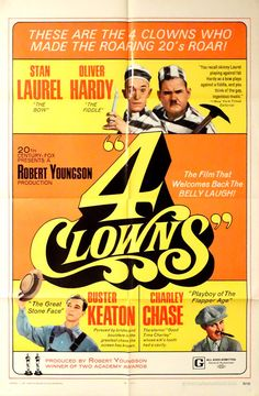 "4 CLOWNS.Original 1970 US 27""x41""Theater Movie Poster.Free Shipping.Silent Movie Icons. Stan Laurel,Oliver Hardy,Buster Keaton,Charley Chase by ArtisticSoulStudio on Etsy"