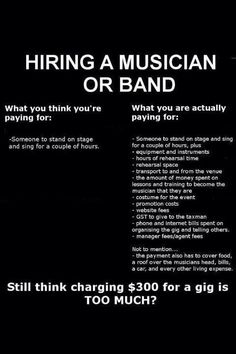 What it costs to be a small artist/band/musician. It's important to stop and think why they charge what they do....because it's their living. #independent #chooselocal