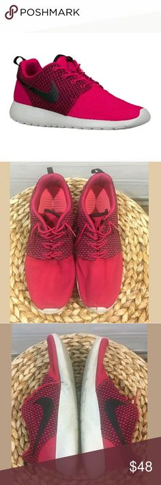 Nike Roshe Run One Sneakers Men's 10.5 Running Nike Roshe Run One Sneakers Men's 10.5 Running Shoes Jacquard Fuschia Force --- Some wear. Small hole at toe on left shoe.  Wear at soles.   ALB Nike Shoes Sneakers