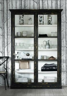 Black Elm Wood Display Cabinet - Sideboards, Cabinets and Armoires - Furniture Furniture, Home Decor Inspiration, Home Accessories, Interior, Interior Inspiration, Cabinet, Glass Cabinet, Industrial Interiors, Display Cabinet