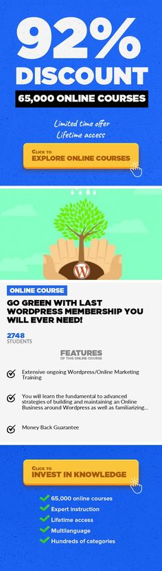 """GO GREEN With Last Wordpress Membership You Will Ever Need! Entrepreneurship, Business  This Course is updated in UNISON with all significant Wordpress updates as they are released. Also included - IM BONUSES What Are The Course Objectives? Conceptually the goal of this Course/Resource Guide it to provide a """" One Stop Hub """" where Novice, Intermediate and Advanced Marketers can access the lates..."""