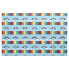 Colorful Rainbow And Cloud Pattern Fabric from #Ricaso