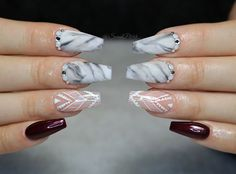 marble coffin nails and hand painted lines #handpaintednails #nails #coffinnails #marblenails