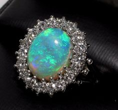 14k 3.58ct Fiery Opal with 1.06cts Diamonds Ring-Appraisal over $5000! - FREE SHIPPING Canada & USA