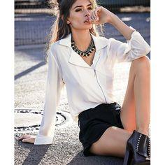 Bluse, schräger Reißverschluss, Biker Look, schräger Zipper | Langarmblusen | Blusen | Fashion