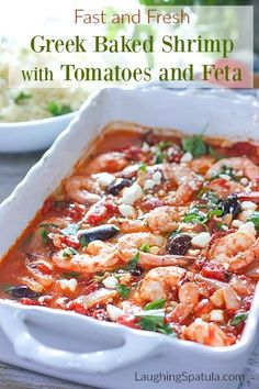 You and your waistline will love this easy Baked Shrimp with Tomatoes and Feta casserole! Tomatoes, garlic, shrimp and feta make a tasty and fresh dinner! Greek Recipes, Fish Recipes, Seafood Recipes, Cooking Recipes, Healthy Recipes, Indian Recipes, Cooking Kale, Cooking Fish, Soups