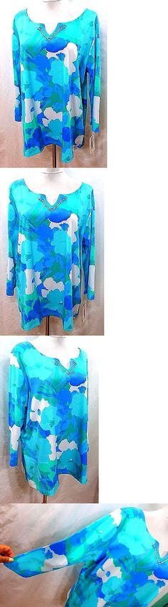 Tops and Blouses 53159: Ruby Rd. Women Plus 1X Blue Teal Green Floral Tee T Shirt Top Blouse Beaded -> BUY IT NOW ONLY: $32.5 on eBay!