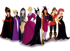 Princesses as their Villains --- this is hilarious! Snow White and Cinderella actually look kind of cute, but Pocahontas??