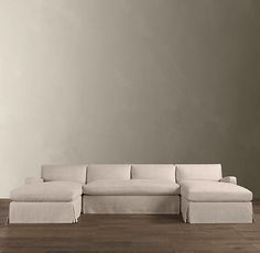 Restoration Hardware - Preconfigured Belgian Slope Arm Slipcovered U-Chaise Sectional