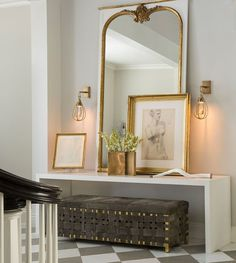 Entryway vignette with sconces - great combo of console table with bench underneath. Windsor Smith for Arteriors Home Interior Simple, Interior And Exterior, Design Entrée, House Design, Modern Design, Entry Foyer, Entryway Decor, Tall Mirror, Console With Mirror