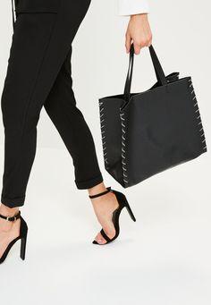 Black Rope Edge Tote Bag - Missguided