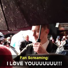 """This man. This man! (click to gif ;D) DA'www!! I love they caught the fan saying that. I love that he totally does the whole """"Oh, stop it, you,"""" thing :D"""