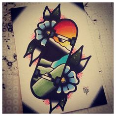 I love this sunset skateboard tattoo flash for my brother's memory.