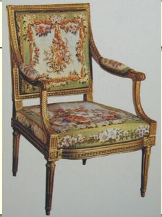 #160 louis xvi fauteuil with square back