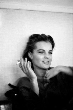 Romy Schneider- Black and white photography Romy Schneider, Women Smoking, Smoking Girls, Famous Faces, Belle Photo, Beautiful Actresses, Old Hollywood, Ikon, Movie Stars