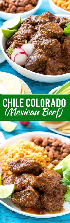 This recipe for chile colorado is a traditional Mexican dish made with tender beef that's been slow cooked in a flavorful tomato sauce. It's the perfect filling for burritos, enchiladas and tacos! Meat Recipes, Mexican Food Recipes, Dinner Recipes, Cooking Recipes, Paleo Dinner, Vegetarian Recipes, Chicken Recipes, Dessert Recipes, Recipes